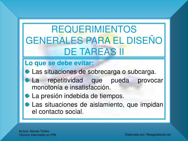 REQUERIMIENTOS GENERALES PARA EL DISEÑO DE TAREAS II