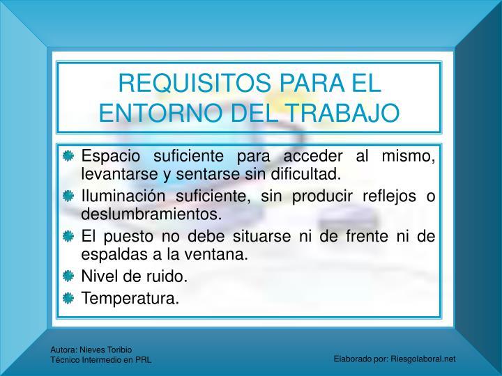 REQUISITOS PARA EL ENTORNO DEL TRABAJO
