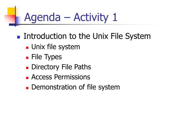 Agenda – Activity 1