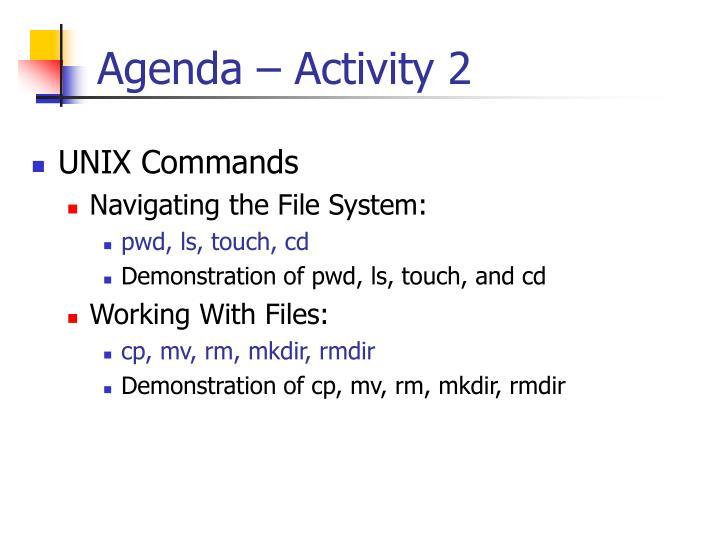 Agenda – Activity 2