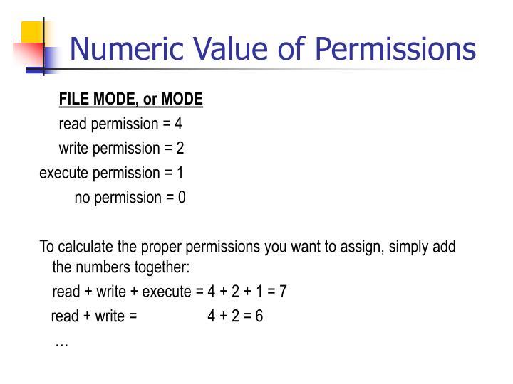 Numeric Value of Permissions