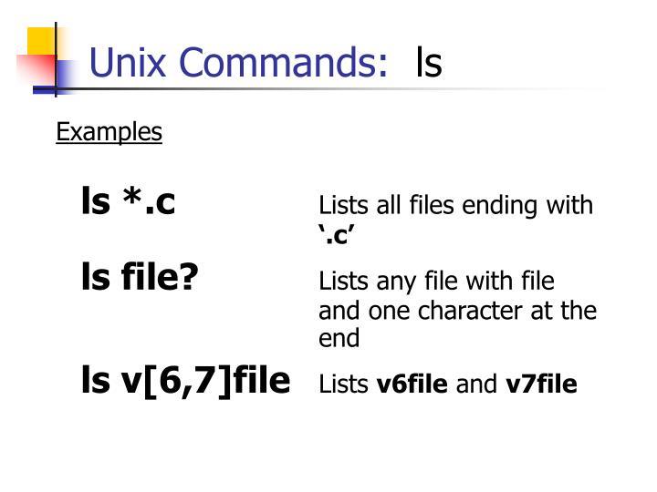 Unix Commands: