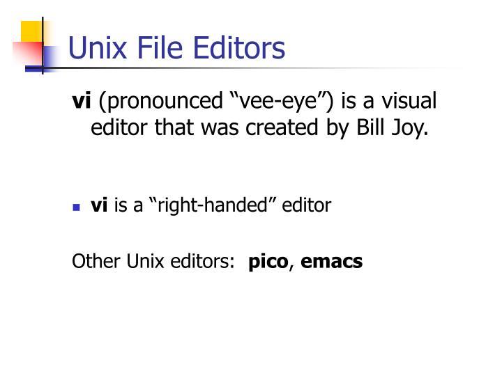 Unix File Editors