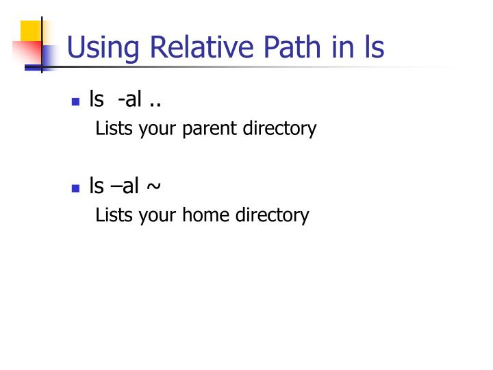 Using Relative Path in ls