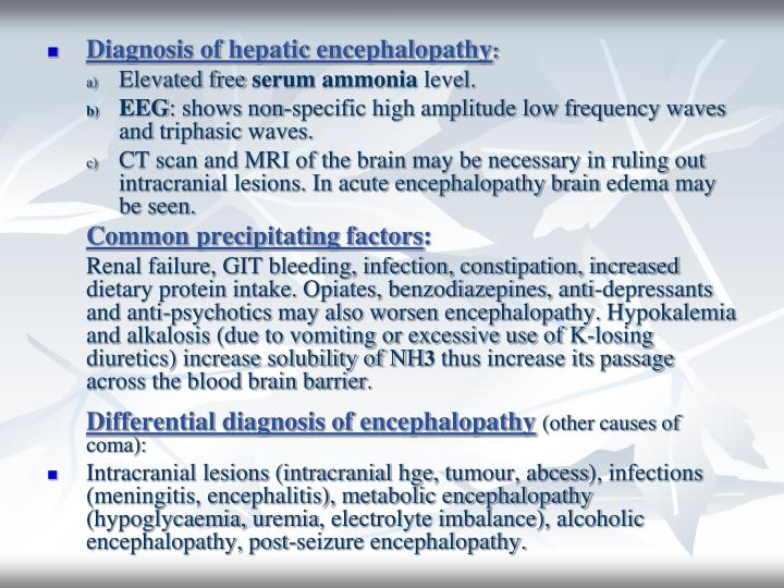 Diagnosis of hepatic encephalopathy