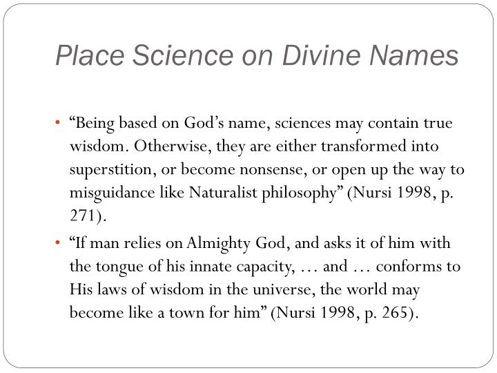 Place Science on Divine Names