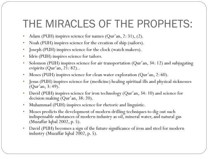 THE MIRACLES OF THE PROPHETS: