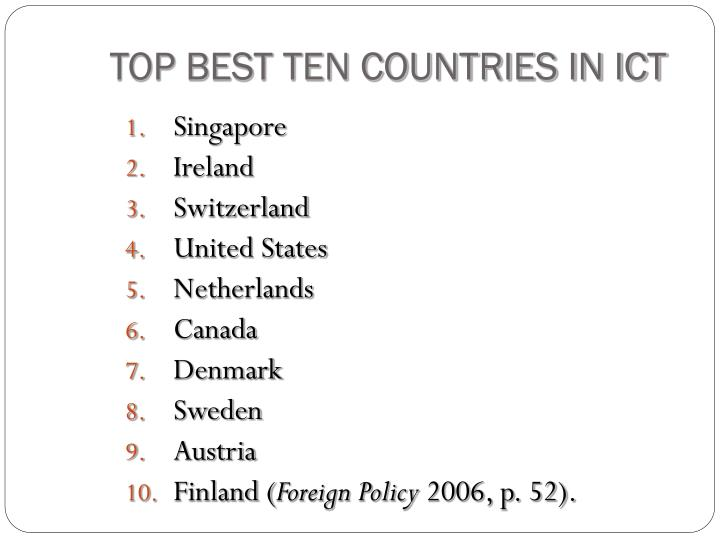 TOP BEST TEN COUNTRIES IN ICT