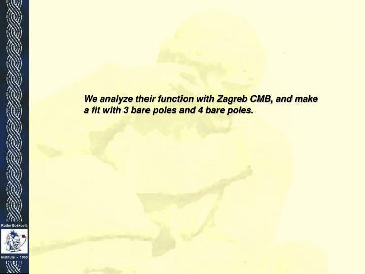 We analyze their function with Zagreb CMB, and make a fit with 3 bare poles and 4 bare poles.