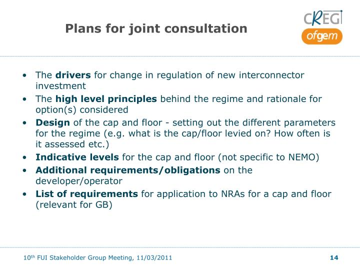 Plans for joint consultation