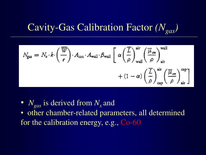 Cavity-Gas Calibration Factor