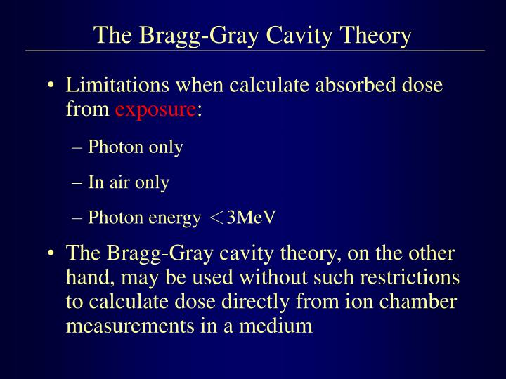 The Bragg-Gray Cavity Theory
