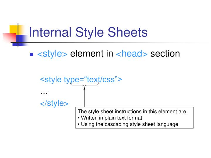 The style sheet instructions in this element are: