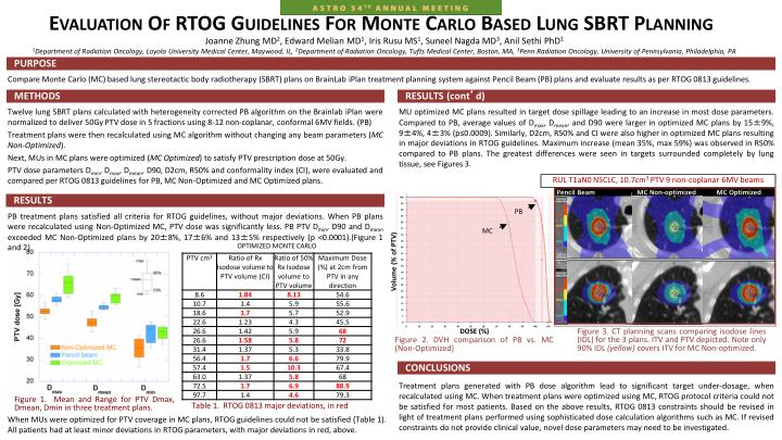 Evaluation Of RTOG Guidelines For Monte Carlo Based Lung SBRT