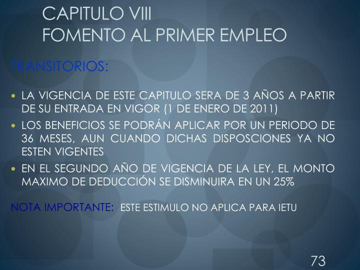 CAPITULO VIII