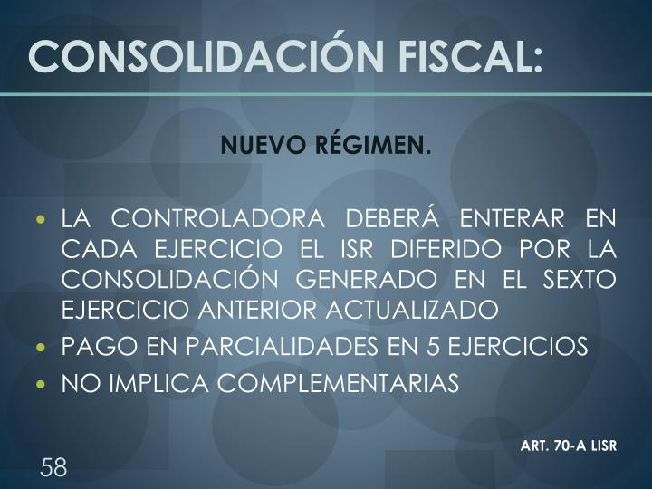 CONSOLIDACIÓN FISCAL: