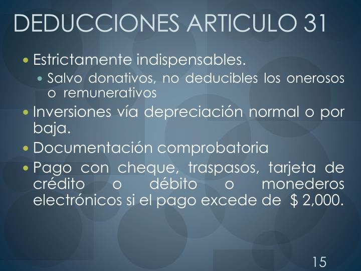 DEDUCCIONES ARTICULO 31