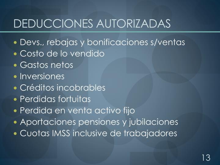 DEDUCCIONES AUTORIZADAS