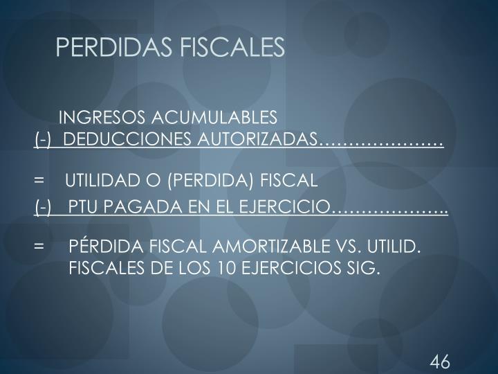 PERDIDAS FISCALES