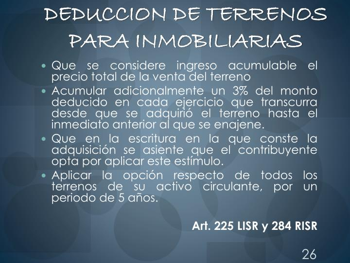 DEDUCCION DE TERRENOS PARA INMOBILIARIAS