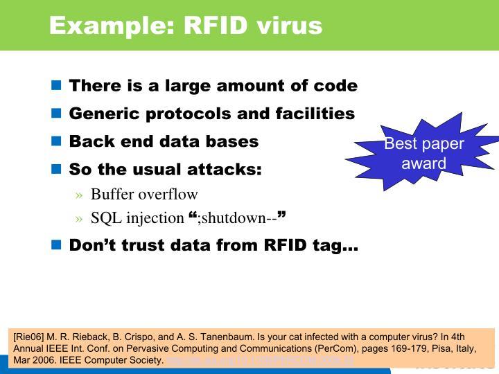 Example: RFID virus