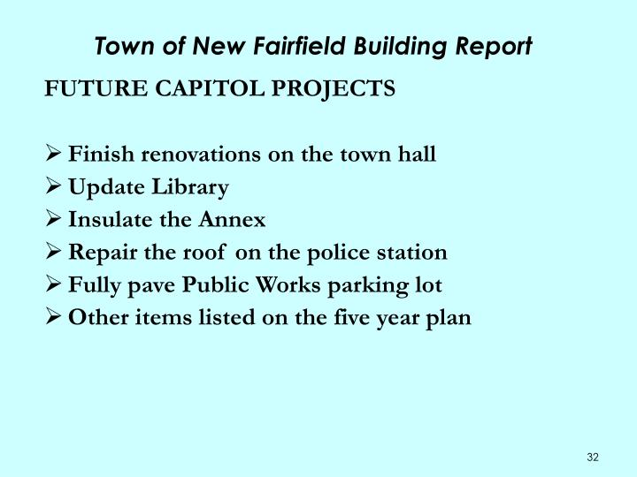 Town of New Fairfield Building Report