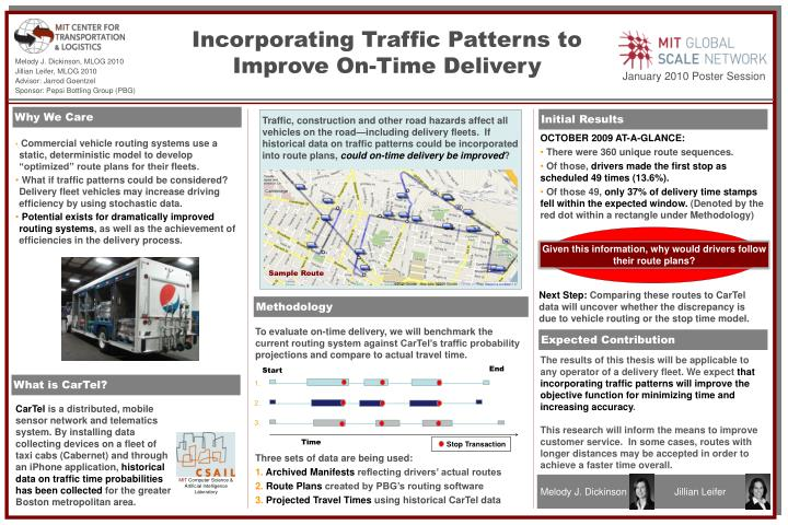 Incorporating Traffic Patterns to Improve On-Time Delivery