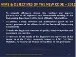 aims objectives of the new code 2012