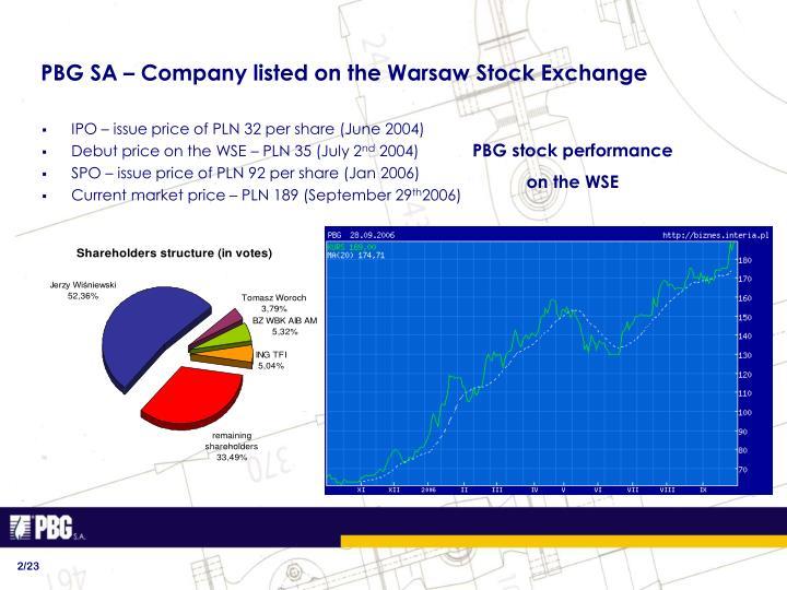 PBG SA – Company listed on the Warsaw Stock Exchange