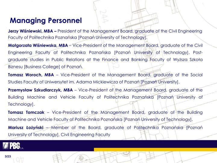 Managing Personnel