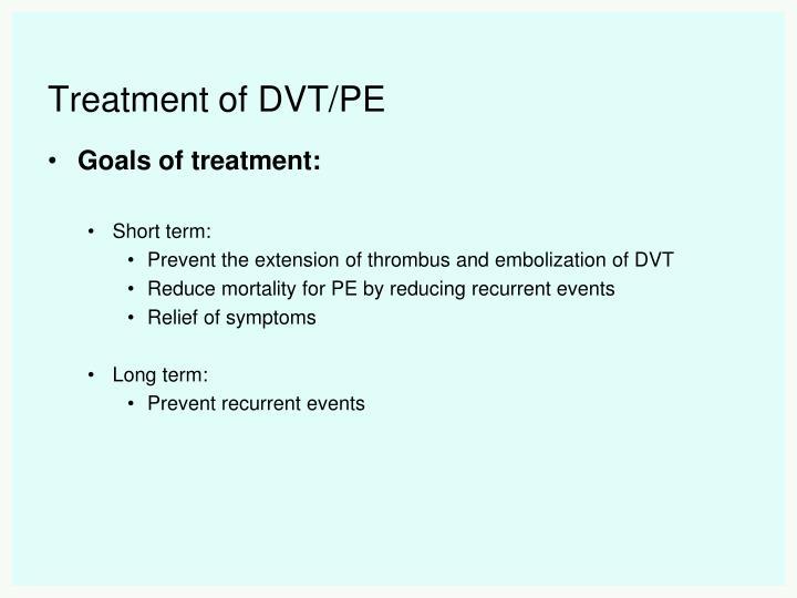 Treatment of DVT/PE