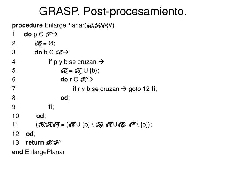 GRASP. Post-procesamiento.