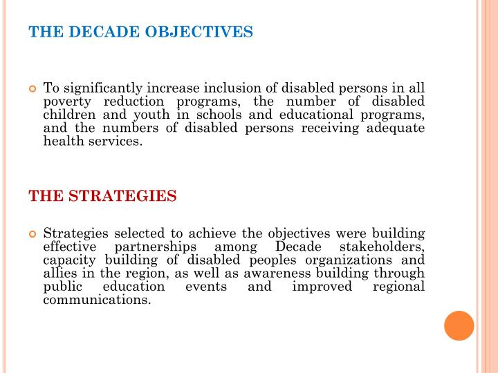 THE DECADE OBJECTIVES