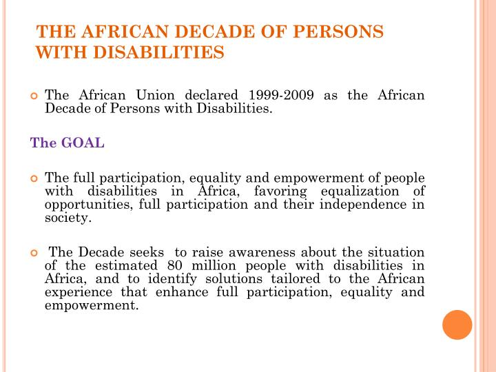 The african decade of persons with disabilities