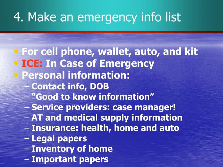 4. Make an emergency info list