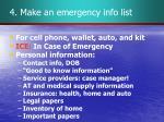 4 make an emergency info list