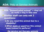 ada pets vs service animals