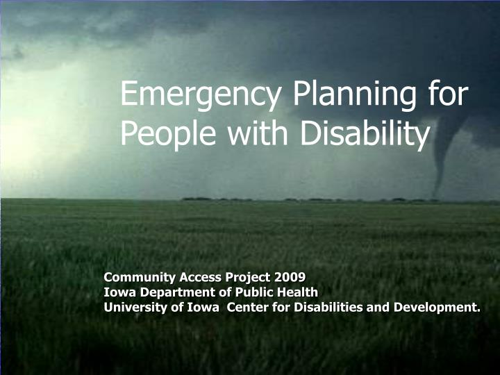 Emergency Planning for People with Disability