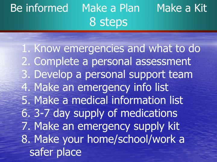 Be informed    Make a Plan     Make a Kit