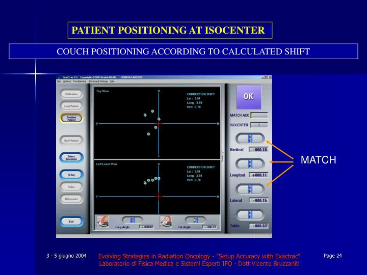 PATIENT POSITIONING AT ISOCENTER
