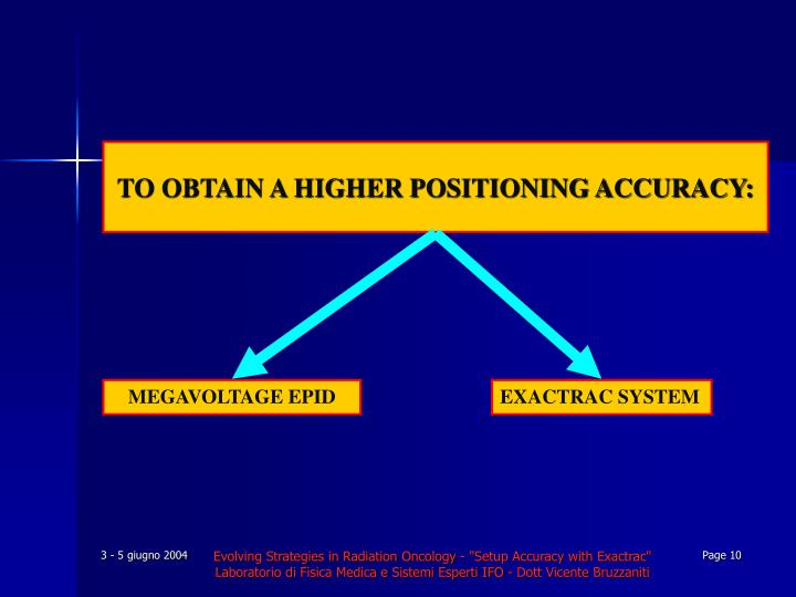 TO OBTAIN A HIGHER POSITIONING ACCURACY: