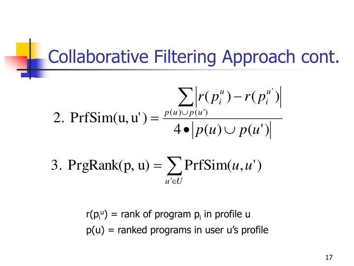 Collaborative Filtering Approach cont.