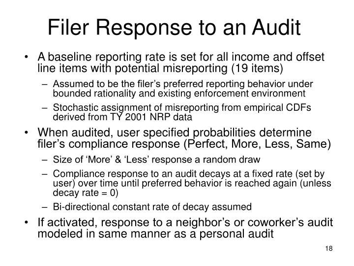Filer Response to an Audit