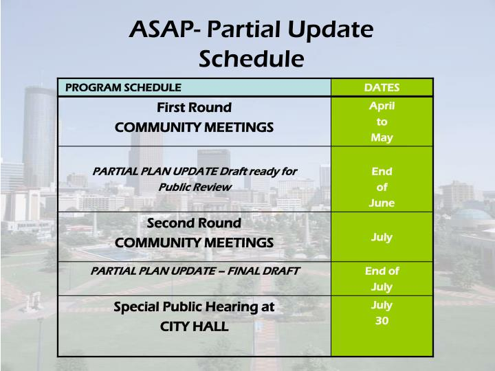 ASAP- Partial Update Schedule
