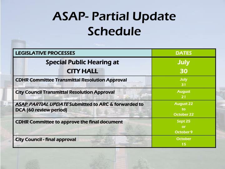 ASAP- Partial Update Schedule