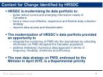 context for change identified by hrsdc