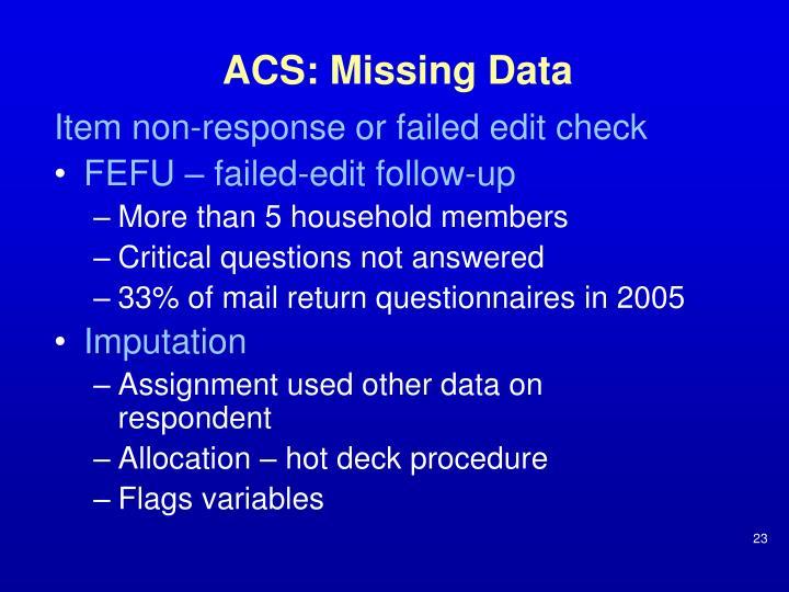 ACS: Missing Data