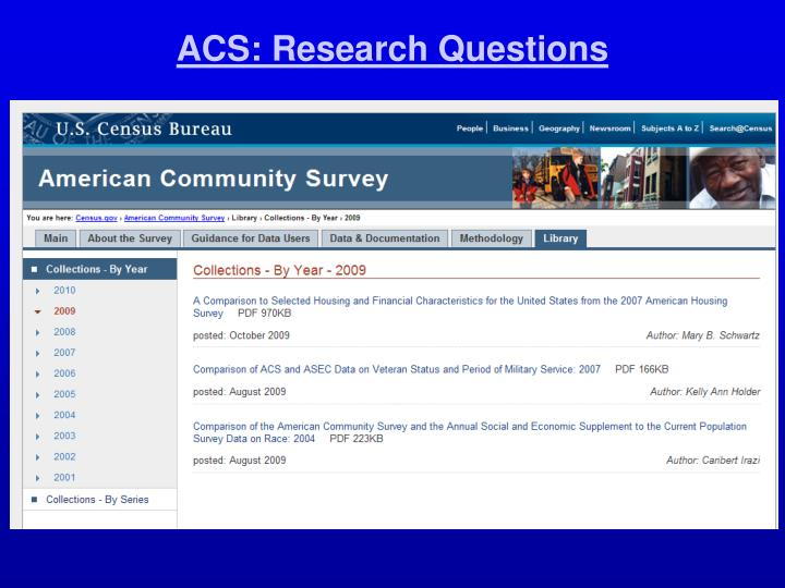 ACS: Research Questions