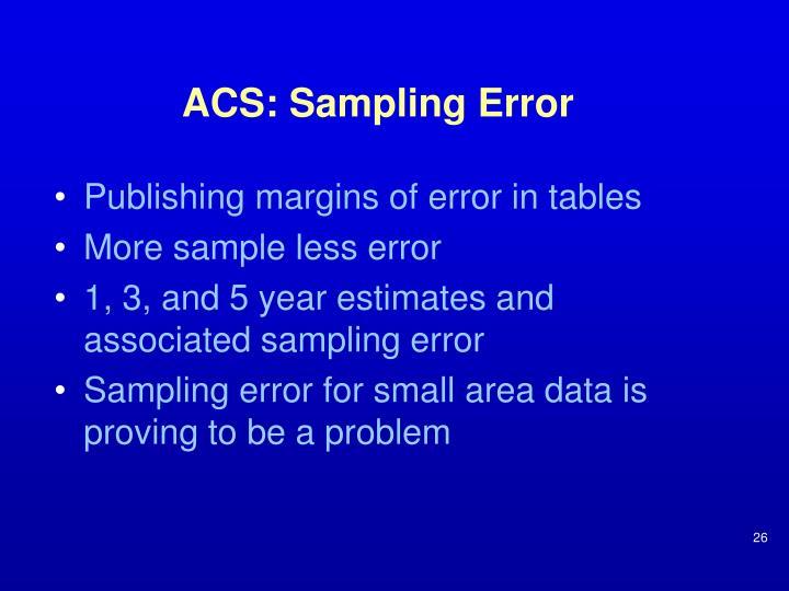 ACS: Sampling Error