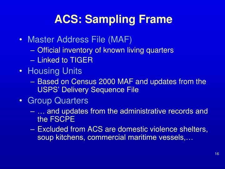 ACS: Sampling Frame